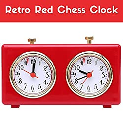 Retro Shiny Red Analog Chess Clock Timer - Wind-Up Mechanical Chess Clock with Large Easy-to-Read Dials, No Battery Needed - By Better Line