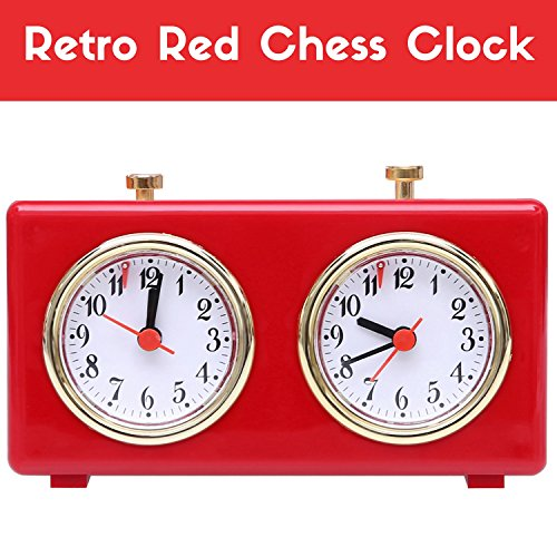 (BETTERLINE Retro Analog Chess Clock Timer - Wind-Up Mechanical Chess Clock with Large Easy-to-Read Dials, No Battery Needed (Red))