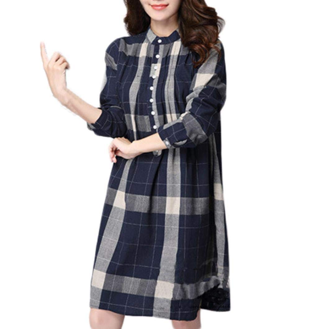 Clearance!! SSYUNO Women's Plus Size Lattice Cotton and Linen Long Sleeves Loose Tops Blouse
