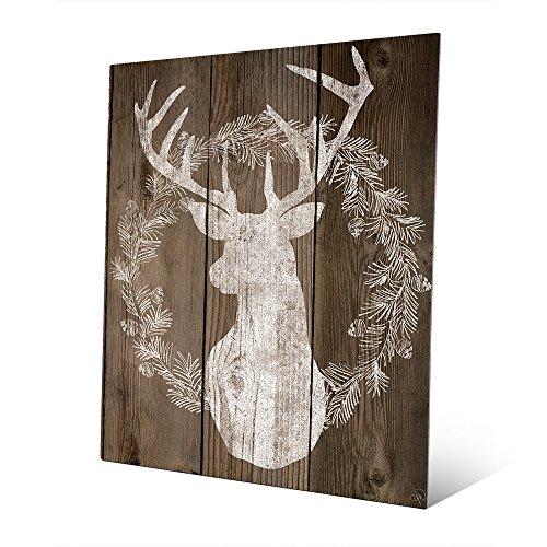 Wreath Christmas Reindeer (Reindeer Wreath: Merry Christmas with Rustic Buck Deer Head Silhouette with Horns Rack in White for Hunting Lodge or Cabin Wall Art Print on Metal)