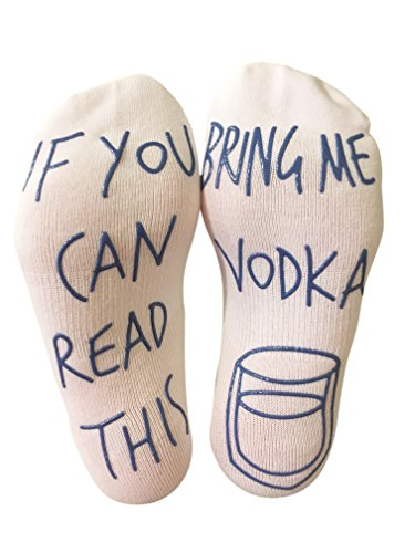 'If You Can Read This Bring Me Vodka' Funny Ankle Socks - For Vodka Lovers