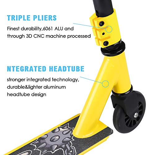Micnaron Pro Stunt Scooter with ONE Free Scrub Sticker, Fashion 2-Wheeled Freestyle Kick Scooter with Sturdy Handlebars