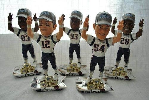 New England Patriots 3x champ Rare five player BRADY DILLON BRUSCHI BRANCH bobblehead Set