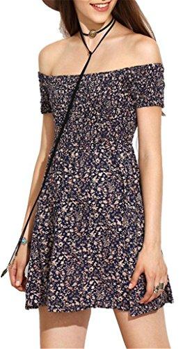 Sleeve Off Short AEETE Print Women's Shoulder Blue Mini Dress Floral HBRxYnSnq