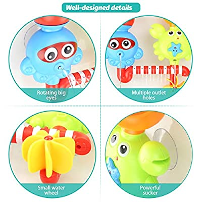 GOODLOGO Bath Toys Bathtub Toys for 2 3 4 Year Old Kids Toddlers Bath Wall Toy Waterfall Fill Spin and Flow Non Toxic Birthday Gift Ideas Color Box (Multicolor): Toys & Games
