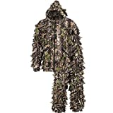 North Mountain Gear Camouflage Hunting Youth Ghillie Suit - 3D Leafy Suit - Camouflage Hunting Suit w/Hooded Camo Jacket & Pants - Full Front Zipper, Zippered Pockets - Paintball & Airsoft