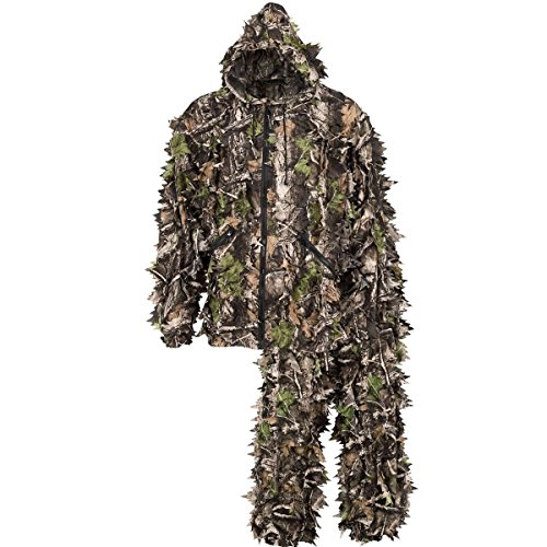 Leafy Camo (North Mountain Gear Super Natural Premium 3D Camouflage Leafy Hunting Suit Ghillie Suit 3D Camo Full Front ZIip With Pockets Jacket Pants Hood (Large))