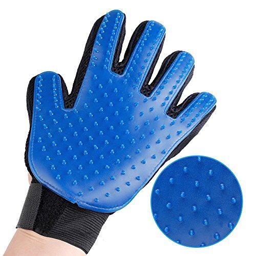 XLW Gentle Deshedding Mitt Pet Grooming Glove - Efficient Pet Brush Gloves For Cats Dogs Horse One Pair Enhanced Five Finger Design Massage Tool For Long & Short Fur (Blue)