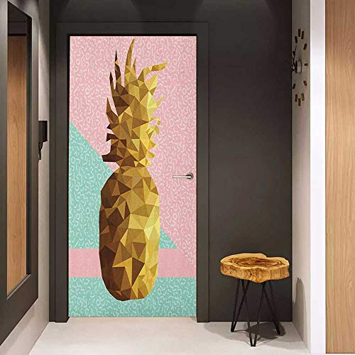 Onefzc Front Door Sticker Indie Retro Summer Concept Pineapple Fruit in Poly Design Memphis for Home Decor W23.6 x H78.7 Pale Pink Mint Green Pale Brown (Atlanta Concepts Storage)
