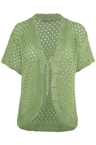 Short Sleeve Knit Cardigan (Womens Ladies Tie Up Lace Bolero Short Sleeve Crochet Knit Cardigan Top Shrug)