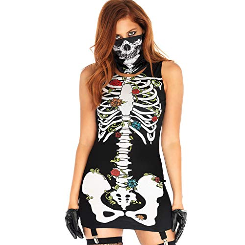 Goddesslili Womens Sexy Halloween Costumes, 2019 New Full Full Skeleton Print Sleeveless Skirt Cosplay Costume for Ladies Girls Student Party Wear, Mask