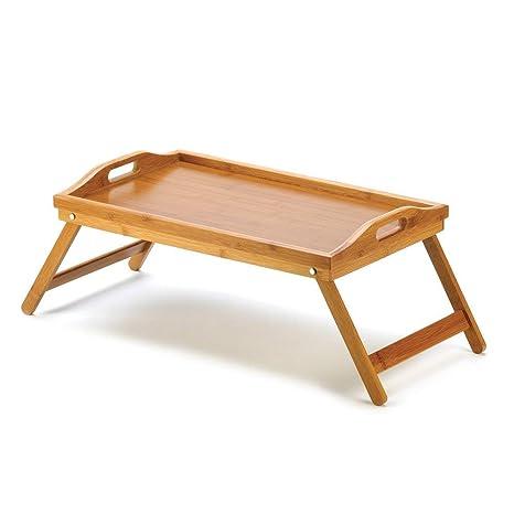 mamjack Home – Bandeja de cama plegable Bandeja desayuno mesa para cama de bambú para comer o para ordenador con 2 asas, Tablet para el desayuno ...