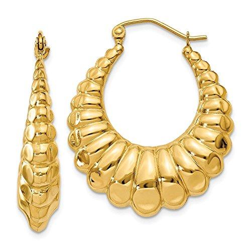 14K Yellow Gold 6MM Scalloped Shrimp Hoop Earrings 14k Yellow Gold Shrimp Hoop