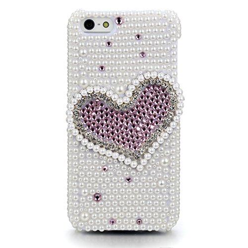 JewelryWe Für Iphone 5 5S Hülle Schale Tasche Etui Pink Liebe Herz künstliche Perlen & Strass Case Cover Weiss