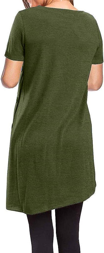Toimothcn Womens Short Sleeve Irregular Hem Tunic T-Shirt Solid Loose Casual Button Top Blouse