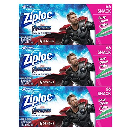 Ziploc Brand Snack Bags, Marvel Studios' Avengers: Endgame, 66 ct, 3 Pack