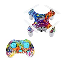 Seastar CX-10D Mini RC Quadcopter 2.4G 4CH 6 Axis RC Drone With Romote Controller, USB Rechargeable, Stunt 3D Flip, One Key Take Off/Landing And LED Flash Light Mini Pocket Hold Drone- Easy for Beginners (Multicolor, CX-10D)