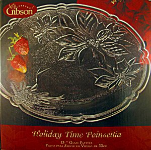 Holiday Time Poinsettia 13 Glass Platter