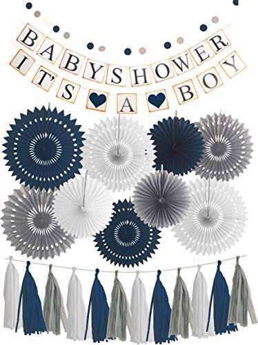 Blue White Grey Baby Boy Baby Shower Decorations/Grey Elephant Baby Shower, Blue Baby Shower Decorations For Boy - Its A Boy Party Decor (Dark Blue)]()