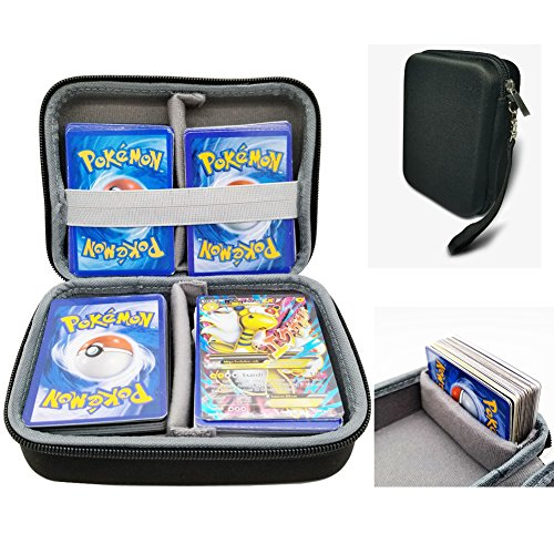 Logity Pokemon Trading Cards Case, Card Game Accessories, Large Capacity, Fit for Travel Card Collection, Includes 2 Removable Divider, Black (2 Premium Trading Cards Box)