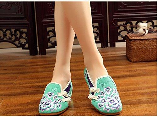 de del Chino Pekín Lirio de Mujeres Zapatos Casuales los Bordadas Verde de de la Flor Lona Planos la de Zapatos tnY8q4gW