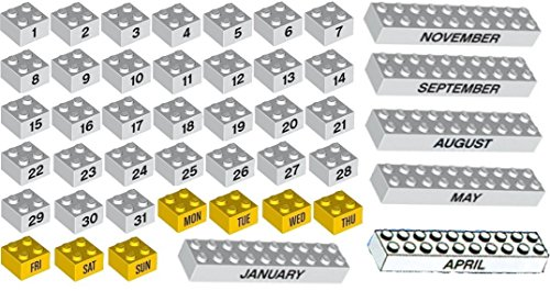 LEGO Decorated Calendar Bricks N° 1 to N° 31, Monday to Sunday, January to December - 44 loose (Brick Calendar)