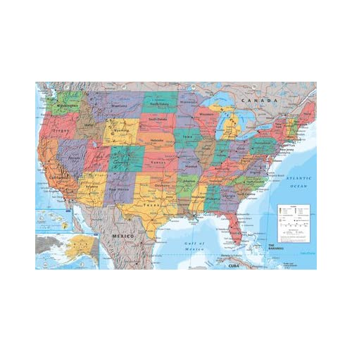 USA Landkarte Poster - Poster Großformat