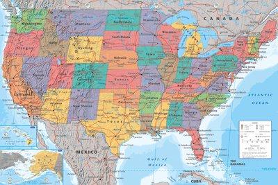 Cartina Stati Uniti D America Con Stati.Poster Con Mappa Stati Uniti D America Formato Grande Amazon It