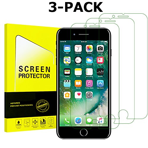 iPhone 8, 7, 6S, 6 Screen Protector Glass Tempered Glass Screen Protector for Apple iPhone 8, 7, iPhone 6S, iPhone 6 [4.7″ inch][3-Pack][Cover flat area]