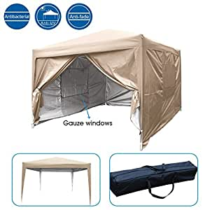 Quictent Privacy 8'x8' EZ Pop Up Canopy Party Tent Gazebo Mesh Curtain 100% Waterproof (Beige)