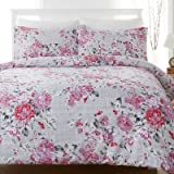 The Bettersleep Company Luxury Percale Cotton Blend Boutique Rose Duvet Cover & Pillowcase Set Grey/Pink/Lilac (Double Bed)