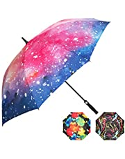 Large Windproof and Rainproof Golf Umbrella 62 Inch with UV Protection. Great as an Umbrella Stroller and on a Golf Cart. Automatic Open and Virtually Unbreakable - for Men and Women.