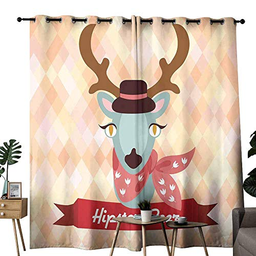 duommhome Bedroom Balcony Living Room Curtain Hipster Deer with Neck Handkerchief on Rhombus Background Vector Illustration Privacy Protection W120 x L84
