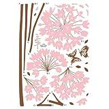 1 X Nursery Easy Apply Wall Sticker Decorations - Long Stem Pink Flower Butterfly Petals