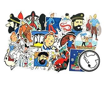 ZJJHX Tintin Adventures Cool Luggage Trolley Case Estuche de Viaje Doodle Sticker Notebook Dead Fly Sticker Impermeable 25 Hojas