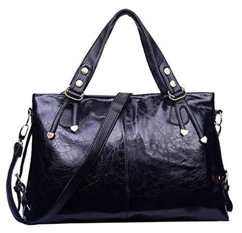 Whoishe174; Women Rivet Simple Tote Style Black PU Leather Bag