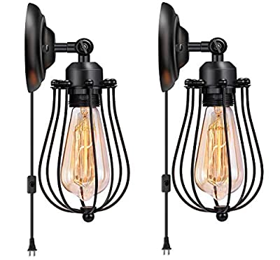 Licperron Wire Cage Wall Sconce Plug in Industrial Wall Light E26 Base with On/Off Switch Vintage Style Plug in Sconce Fixture for Headboard Bedroom Garage Porch 2 Pack?Need Hardwired)?