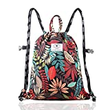 Drawstring Backpack Original Floral Leaf Tote Bags Sackpack for Shopping Yoga Gym Hiking Swimming Travel Beach 2 Sizes&20 Patterns