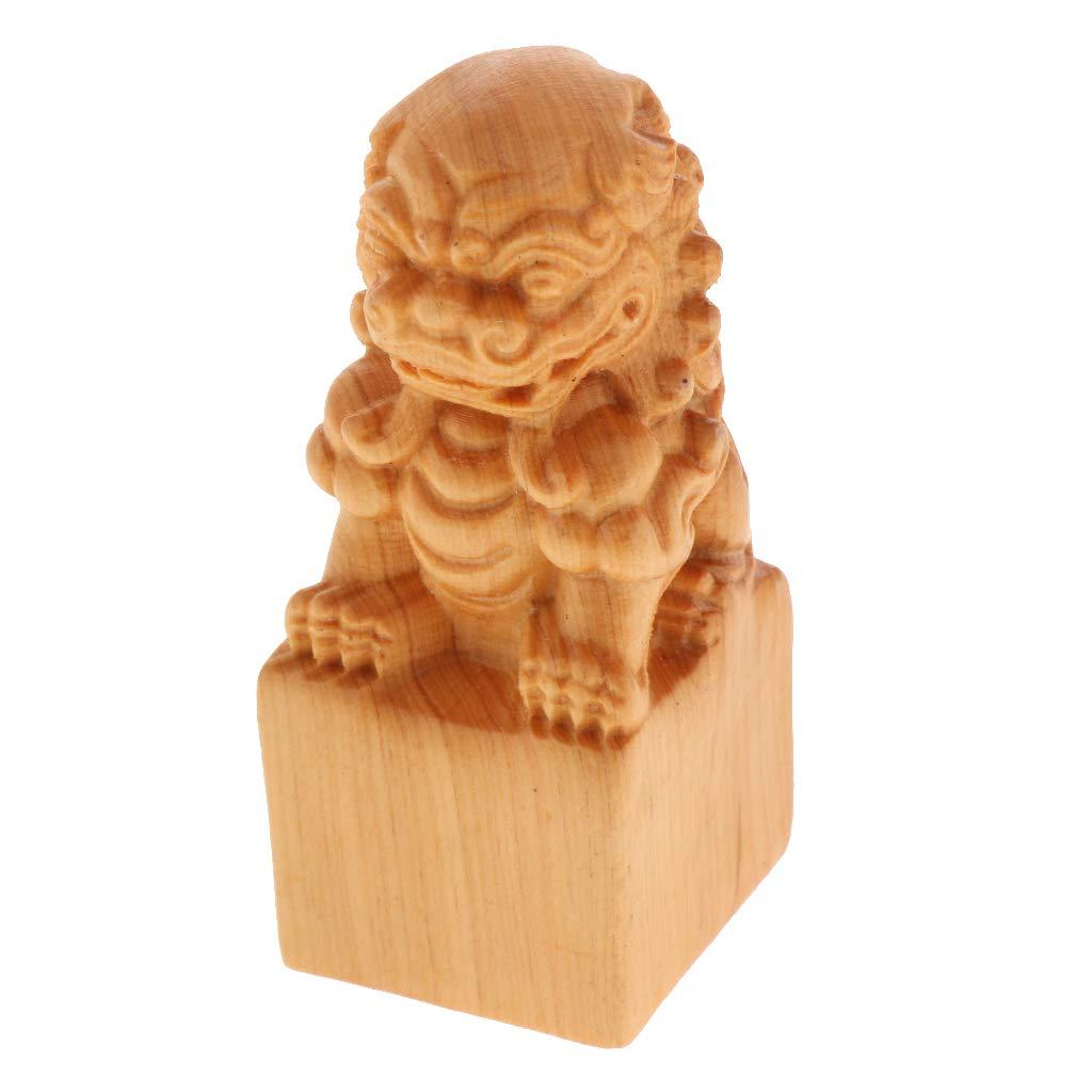 Lion FITYLE Collection en Bois Heureux Statue De Bouddha Sculpture /À La Main Figurine D/écoratif Home Decor Accent Rustique Artisanal /À La Main D/écoration