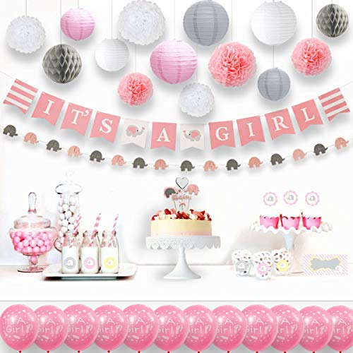 Baby Elephant Baby Shower Decorations Girl with Elephant Garland It is a Girl Banner Balloons Cake Topper Paper Lanterns Sash Honeycomb and Flower Pom Poms Kit (Pink White Grey 33 Pieces) by Ajworld ()