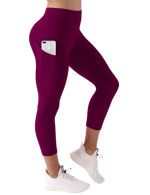 BUBBLELIME High Compression Yoga Pants Out Pocket Running Pants High Waist UPF30+, Bwsb010 Grapevine(1), Medium(22'' inseam)