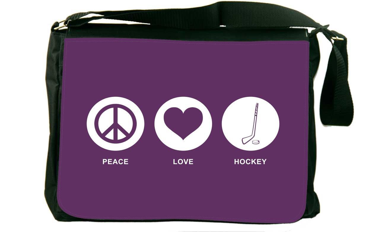 Rikki Knight Peace Love Hockey Purple Color Messenger Bag School Bag