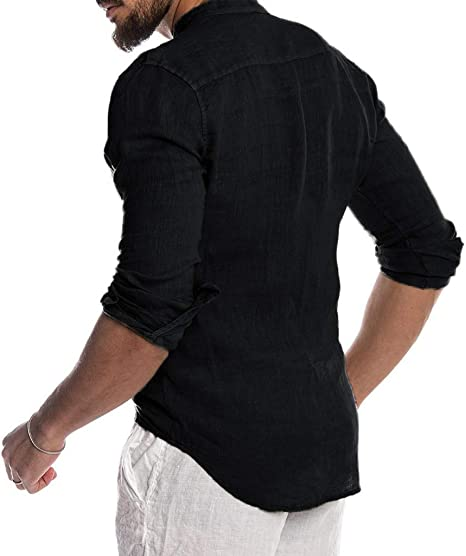 YEBIRAL Camisetas Hombre Manga Larga, Casual Regular Basicas ...