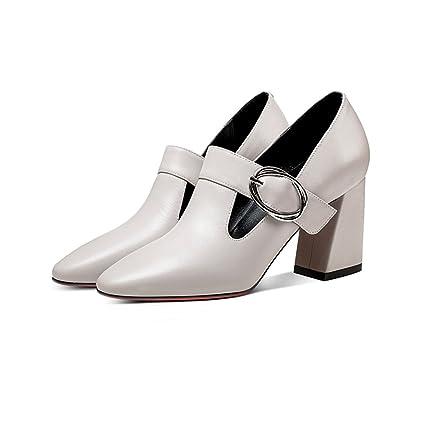 YUBIN Zapatos De Mujer Hebilla De Cuero Europea Y Americana De Espesor con Tacones Altos Cabeza