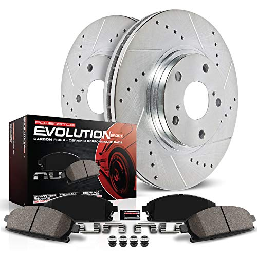 Power Stop K2405 Rear Z23 Carbon Fiber Brake Pads with Drilled & Slotted Brake Rotors Kit