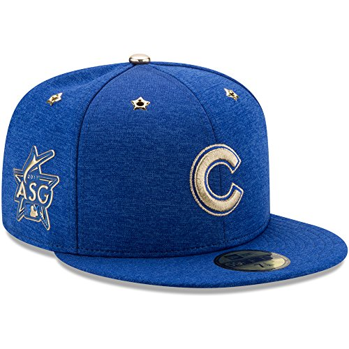 - New Era MLB 2017 All-Star Game Collection Fitted 59Fifty Baseball Hats Authentic On Field Patch 5950 Cap (7, Chicago Cubs Blue)