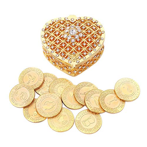 TINGKU English Gold Wedding Unity Coins Set Arras de Boda Wedding Arras Coins Ceremony Souvenirs Accessories with Heart Shaped Box