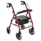 Healthline Aluminum Rollator Walker with 8 Inch Wheels, 14 Inch Paded Seat and Backrest, Red