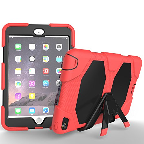 Omega Computer Case - Omega New Designer Rainproof, Dirtproof, Shockproof Hybrid Anti Shock Armor Heavy Duty Plastic & Silicone Case Skin Cover for Apple Ipad Mini 4 Red