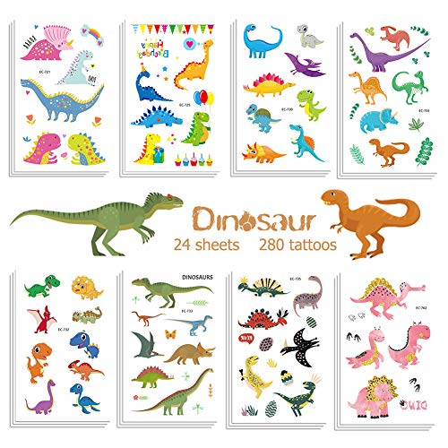 Jatidne Dinosaur Temporary Tattoos for Kids Boys Birthday Party, 300 Tattoos (Pack of 24 Sheets) Waterproof Dinosaur Tattoo Stickers, Dinosaur Party Supplies Great Children Party Favors]()